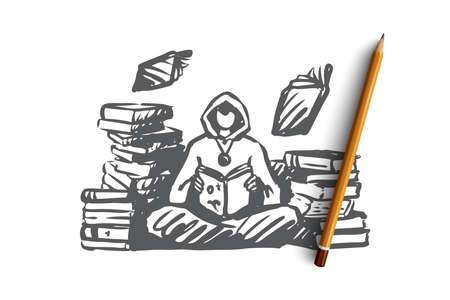 Wizard, magic, library, spell, book concept. Hand drawn warlock in library with books and spells concept sketch. Isolated vector illustration.