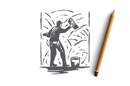 Grouting, cement, worker, wall, repair concept. Hand drawn repairman with tool and cement concept sketch. Isolated vector illustration.