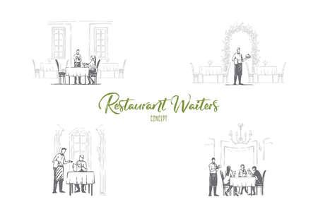 Camerieri del ristorante - camerieri nei ristoranti che ricevono ordini e portano un insieme di concetti vettoriali di cibo. Illustrazione isolata schizzo disegnato a mano