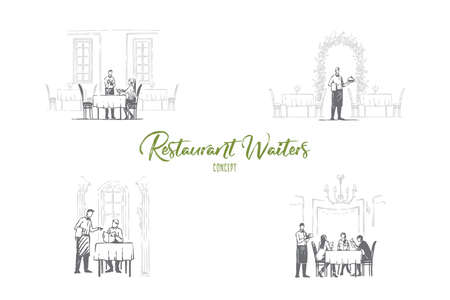 Restaurant waiters - waiters in restaurants getting orders and bringing food vector concept set. Hand drawn sketch isolated illustration 스톡 콘텐츠 - 124287164