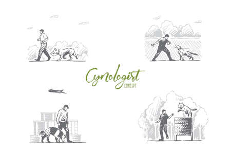 Cynology - special people training dogs outdoors vector concept set. Hand drawn sketch isolated illustration 일러스트