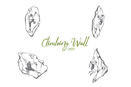 Climbing wall - men and women climbing up artificial wall vector concept set. Hand drawn sketch isolated illustration