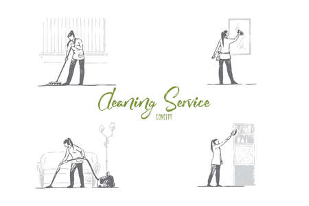 Cleaning service - washing floor, mirrors, shelves and vacuuming vector concept set. Hand drawn sketch isolated illustration