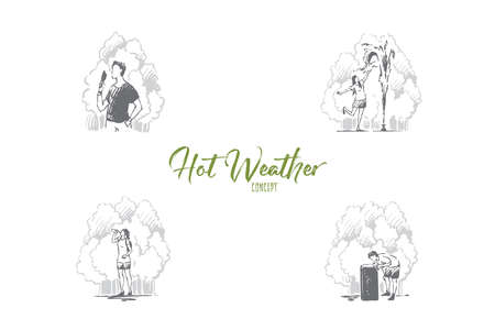Hot weather- people eating ice cream, playing with fountain, drinking much water on summer vector concept set. Hand drawn sketch isolated illustration