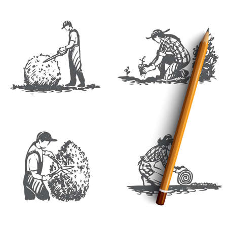 Landscaping- lawn mowing, seedlings, lawn lash, bush cutting vector concept set. Hand drawn sketch isolated illustration