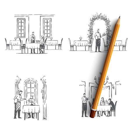 Restaurant waiters - waiters in restaurants getting orders and bringing food vector concept set. Hand drawn sketch isolated illustration 스톡 콘텐츠 - 124274736