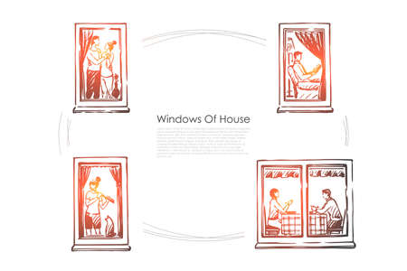 Windows of house - people dancing, reading, playing music, eating in windows of their flats vector concept set. Hand drawn sketch isolated illustration