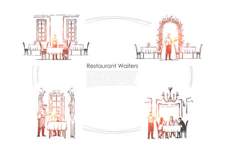 Restaurant waiters - waiters in restaurants getting orders and bringing food vector concept set. Hand drawn sketch isolated illustration 스톡 콘텐츠 - 124252502