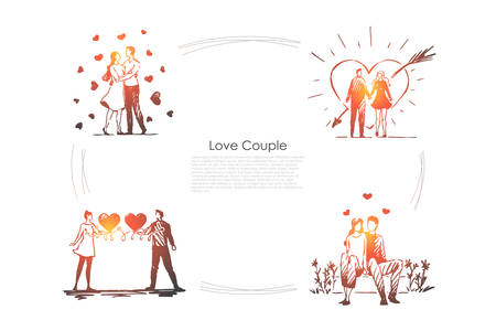 Love couple - loving romantic couple walking outdoor and hugging each other vector concept set. Hand drawn sketch isolated illustration Illustration