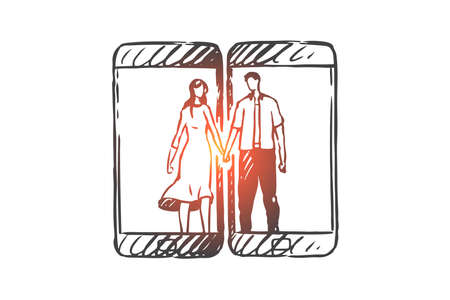 Phone, communication, mobile, love, couple concept. Hand drawn couple in love communicate through the Internet concept sketch. Isolated vector illustration.