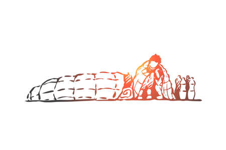Migrant, illegal, homeless, crisis concept. Hand drawn homeless refugees sleeping outdoor concept sketch. Isolated vector illustration. Illustration