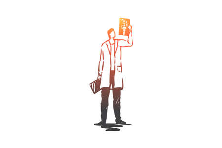 X-ray, health, doctor, medicine, care concept. Hand drawn doctor with x-ray concept sketch. Isolated vector illustration. Illustration