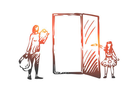 Kid, good, manners, girl, mother concept. Hand drawn girl opens the door to her mother concept sketch. Isolated vector illustration.