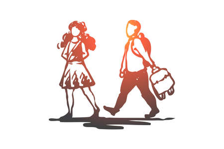 Kid, good, manners, girl, boy, bag concept. Hand drawn boy helps to girl to carry bag concept sketch. Isolated vector illustration.