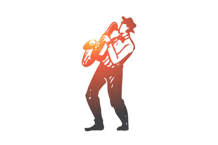 Music, jazz, play, saxophone, performance concept. Hand drawn jazz musician play on saxophone concept sketch. Isolated vector illustration.