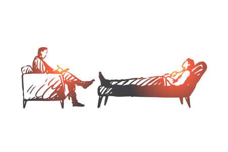 Persona, psicólogo, terapia, sofá, concepto de estrés. Dibujado a mano empresario estresado en sesión con el bosquejo del concepto de psicólogo. Ilustración de vector aislado. Logos