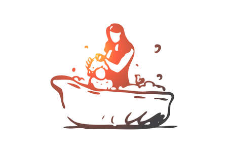 Baby, mother, bath, shampoo, soap concept. Hand drawn mother bathes baby concept sketch. Isolated vector illustration.