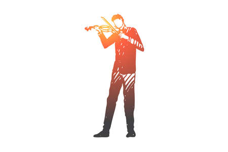 Violin, musician, man, concert, instrument concept. Hand drawn man playing violin concept sketch. Isolated vector illustration.