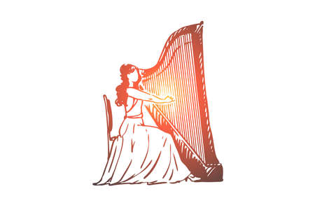 Harpe, musicien, femme, performance, concept d'instrument. Femme dessinée à la main jouant sur un croquis de concept de harpe. Illustration vectorielle isolée.