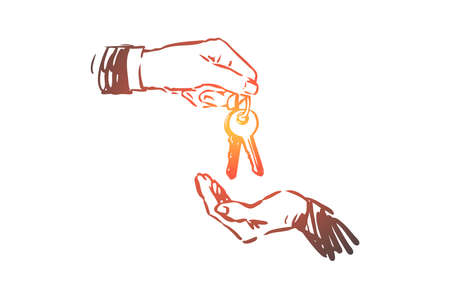 Real estate, key, hand, buy, sell concept. Hand drawn keys in hand, real estate selling concept sketch. Isolated vector illustration. Vettoriali