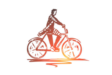 Student, bicycle, man, cycling concept. Hand drawn student riding to the university on bike concept sketch. Isolated vector illustration.