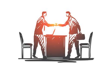 Business, partner, handshake, suit, deal concept. Hand drawn business partners shaking hands concept sketch. Isolated vector illustration.