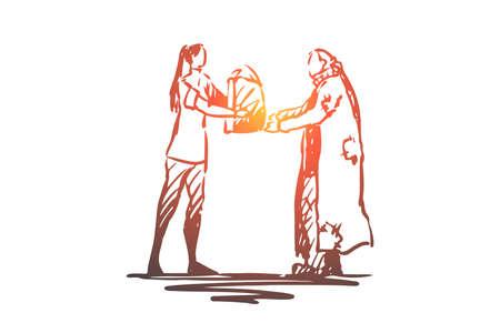 Sans-abri, bénévole, aide, pauvre, concept de charité. Une femme bénévole dessinée à la main donne de la nourriture à un croquis de concept de personne sans-abri. Illustration vectorielle isolée. Vecteurs