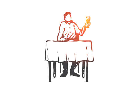 Man, restaurant, table, wine, glass concept. Hand drawn man sitting in cafe concept sketch. Isolated vector illustration.