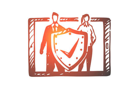 Laptop, protection, safety, data, secure concept. Hand drawn shield as symbol of data protection concept sketch. Isolated vector illustration.