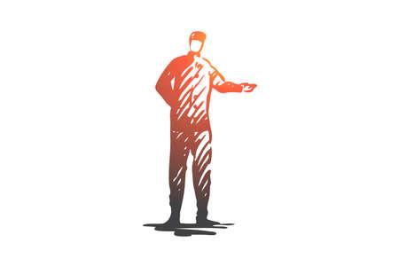 Hotel, service, doorman, uniform, janitor concept. Hand drawn doorman waiting for hotel guests concept sketch. Isolated vector illustration. Illusztráció