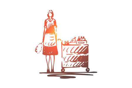 Hotel, pokojówka, fartuch, praca, koncepcja pokojówki. Ręcznie rysowane pokojówka w szkicu koncepcji hotelu. Ilustracja na białym tle wektor.