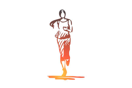 Woman, running, healthy, habit, activity concept. Hand drawn sportive girl running concept sketch. Isolated vector illustration.  イラスト・ベクター素材