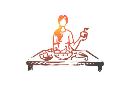 Healthy food, fruits, vegetables, diet concept. Hand drawn girl eating fresh fruits and vegetable concept sketch. Isolated vector illustration.