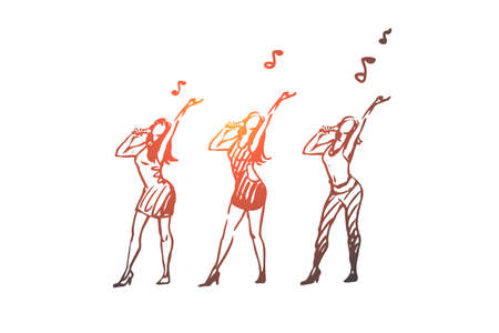 Music, dance, woman, singer, performance concept. Hand drawn women dancing and singing concept sketch. Isolated vector illustration.
