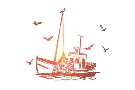 Fishing, boat, commercial, ship, marine concept. Hand drawn vessel for commercial fishing concept sketch. Isolated vector illustration.