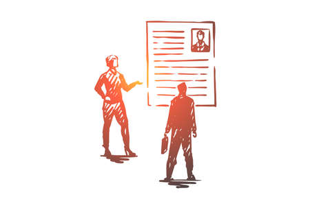 Recruitment, agency, work, employment concept. Hand drawn recruiters looking for new candidate concept sketch. Isolated vector illustration.