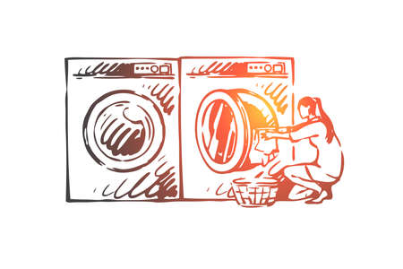 Home, work, washing, machine, woman concept. Hand drawn housewife washes clothes in washing machine concept sketch. Isolated vector illustration. Vectores