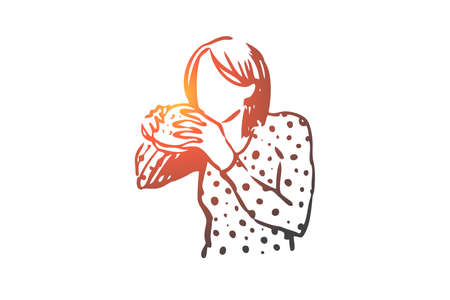 Girl, eating, sandwich, food, nutrition concept. Hand drawn girl eating sandwich concept sketch. Isolated vector illustration.