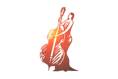 Cello, classic, music, woman, concert concept. Hand drawn woman in long dress playing on cello concept sketch. Isolated vector illustration. 向量圖像