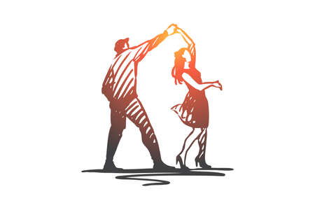 Couple, dancing, partner, music, party concept. Hand drawn couple dancing on a disco concept sketch. Isolated vector illustration. Illustration