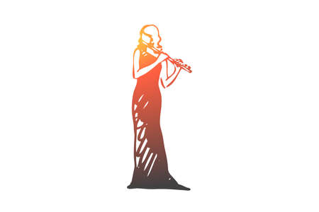 Flute, classic, music, woman, artist concept. Hand drawn woman playing on flute concept sketch. Isolated vector illustration.