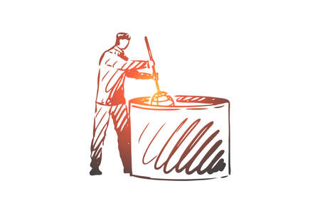 Milk, cheese, food, production, worker concept. Hand drawn worker at cheese production factory concept sketch. Isolated vector illustration. 向量圖像