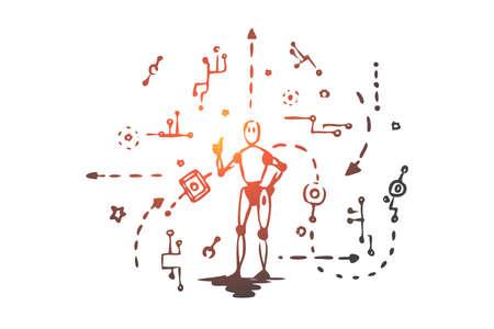 Schema, macchina, robot, tecnologia, concetto di Android. Schizzo di concetto di schema di macchina elettronica e androide disegnato a mano. Illustrazione vettoriale isolato.