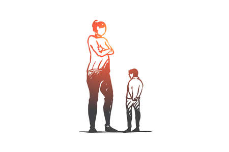 Son, mother, angry, parent, upset concept. Hand drawn mother scolds her son concept sketch. Isolated vector illustration.