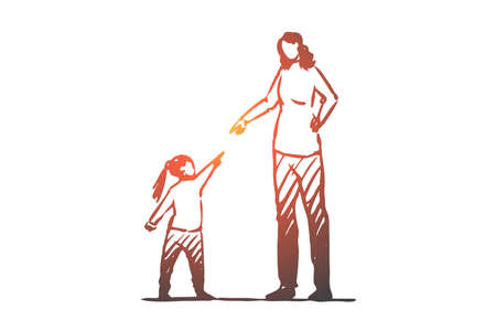 Daughter, mother, angry, scold, conflict concept. Hand drawn mother in conflict with daughter concept sketch. Isolated vector illustration.