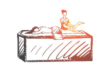 Turc, bain, détente, spa, concept de loisirs. Femme dessinée à la main relaxante dans un bain turc. Massage dans le croquis de concept de sauna. Illustration vectorielle isolée. Vecteurs