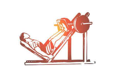 Workout, training, fitness, healthy, sport concept. Hand drawn man doing exercises on legs in gym concept sketch. Isolated vector illustration.