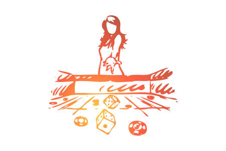 Casino, woman, game, dice, gamble concept. Hand drawn woman throws dice in casino game concept sketch. Isolated vector illustration.