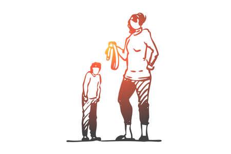 Fils, maman, ceinture, punition, colère, concept de peur. La mère dessinée à la main punit son fils avec un croquis de concept de ceinture. Illustration vectorielle isolée.