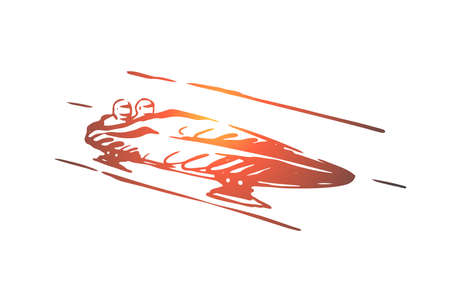 Luge, winter, sport, ice, speed concept. Hand drawn competition of luge sport concept sketch. Isolated vector illustration.